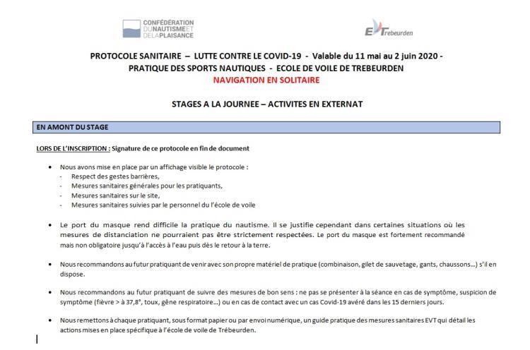 Protocole Sanitaire EVT du 11 mai au 2 juin2020